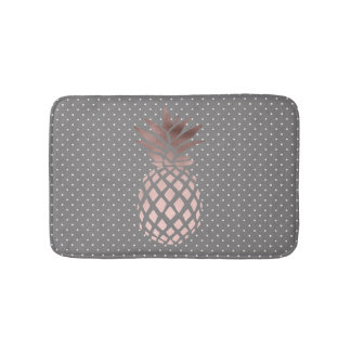 elegant chick rose gold foil pineapple polka dots bath mat