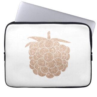 elegant chick rose gold glitter berry laptop sleeve