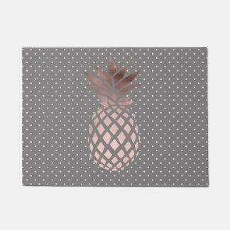 elegant chick rose gold pineapple polka dots doormat