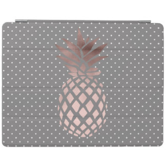 elegant chick rose gold pineapple polka dots iPad cover