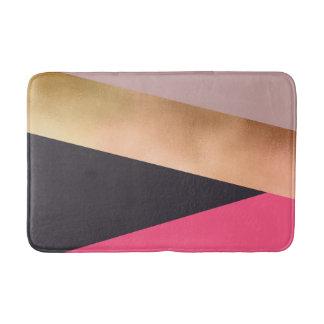 elegant chick rose gold pink grey color block bath mat