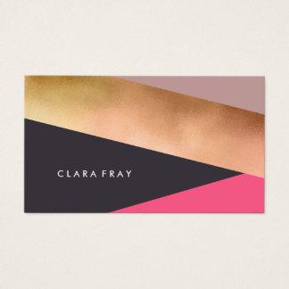 elegant chick rose gold pink grey color block business card