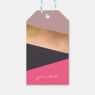 elegant chick rose gold pink grey color block gift tags