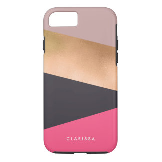 elegant chick rose gold pink grey color block iPhone 8/7 case