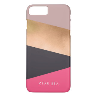 elegant chick rose gold pink grey color block iPhone 8 plus/7 plus case