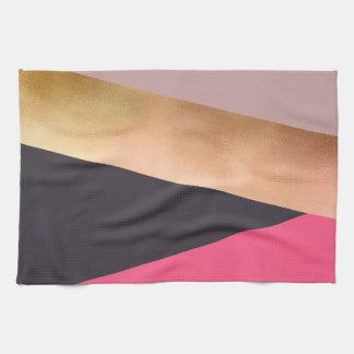 elegant chick rose gold pink grey color block kitchen towel