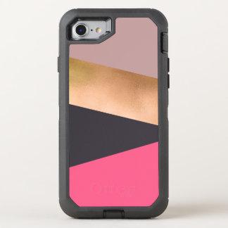 elegant chick rose gold pink grey color block OtterBox defender iPhone 8/7 case