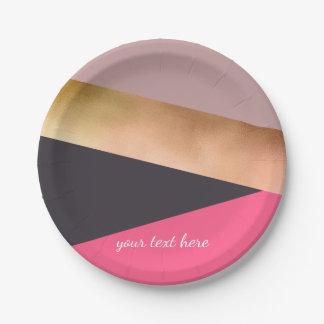 elegant chick rose gold pink grey color block paper plate