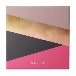elegant chick rose gold pink grey color block tile