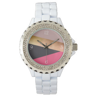 elegant chick rose gold pink grey color block watch