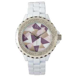 elegant chick rose gold pink marble geometric watch