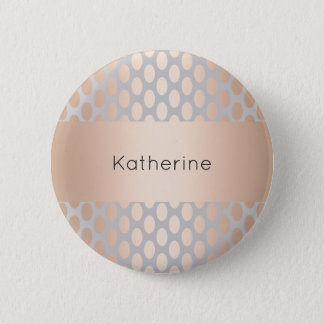 Elegant Chick Rose Gold Polka Dots Pattern Grey 2 Inch Round Button