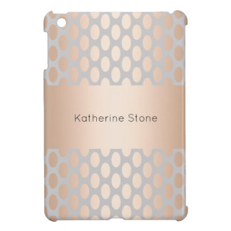 Elegant Chick Rose Gold Polka Dots Pattern Grey Case For The iPad Mini