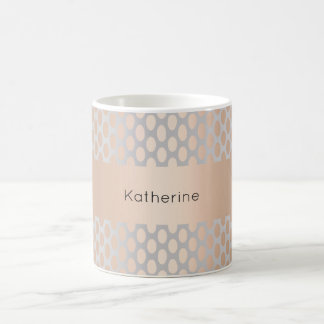 Elegant Chick Rose Gold Polka Dots Pattern Grey Coffee Mug