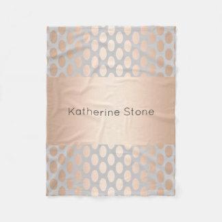 Elegant Chick Rose Gold Polka Dots Pattern Grey Fleece Blanket