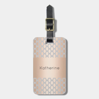 Elegant Chick Rose Gold Polka Dots Pattern Grey Luggage Tag