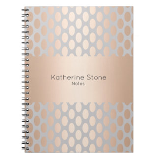 Elegant Chick Rose Gold Polka Dots Pattern Grey Notebooks