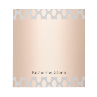 Elegant Chick Rose Gold Polka Dots Pattern Grey Notepad