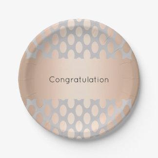Elegant Chick Rose Gold Polka Dots Pattern Grey Paper Plate