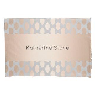 Elegant Chick Rose Gold Polka Dots Pattern Grey Pillowcase