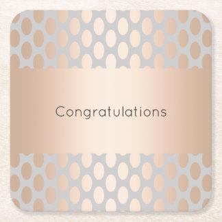 Elegant Chick Rose Gold Polka Dots Pattern Grey Square Paper Coaster