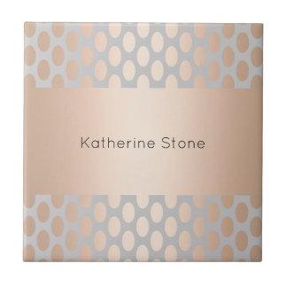 Elegant Chick Rose Gold Polka Dots Pattern Grey Tile