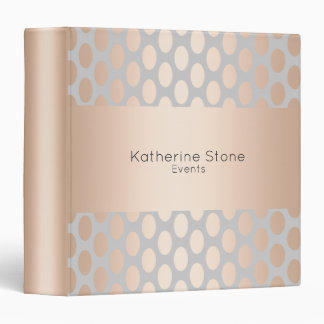 Elegant Chick Rose Gold Polka Dots Pattern Grey Vinyl Binders