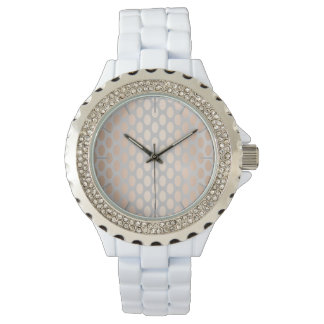 Elegant Chick Rose Gold Polka Dots Pattern Grey Watch