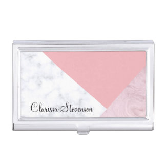 elegant chick white pastel pink marble geometric business card holder