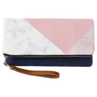 elegant chick white pastel pink marble geometric clutch