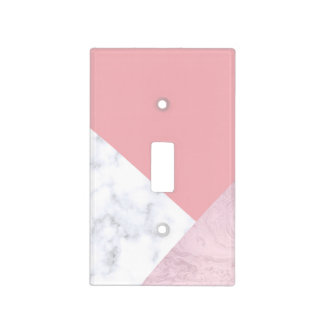 elegant chick white pastel pink marble geometric light switch cover