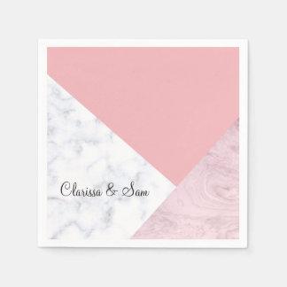 elegant chick white pastel pink marble geometric paper napkin