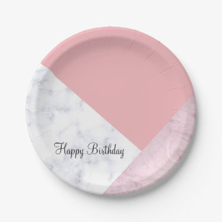 elegant chick white pastel pink marble geometric paper plate