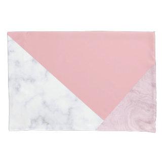 elegant chick white pastel pink marble geometric pillowcase