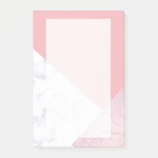 elegant chick white pastel pink marble geometric post-it notes