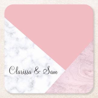 elegant chick white pastel pink marble geometric square paper coaster