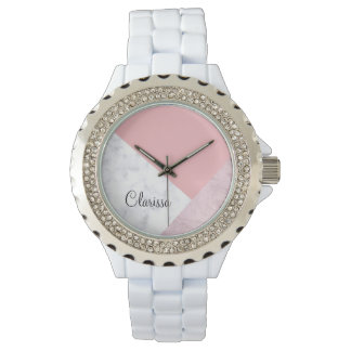 elegant chick white pastel pink marble geometric watch