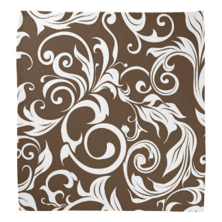 Elegant Chocolate Brown Floral Wallpaper Pattern Bandana