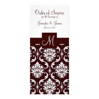 Elegant Chocolate Damask Wedding Church Programs Announcement