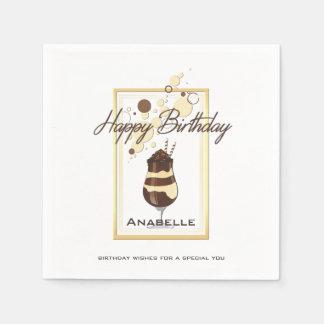 Elegant Chocolate Vanilla Drink Birthday Disposable Napkin