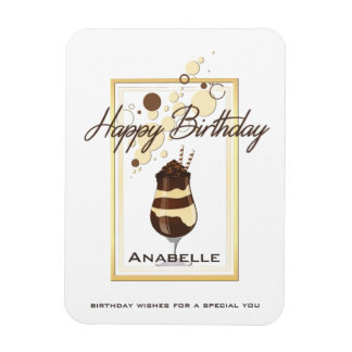 Elegant Chocolate Vanilla Drink Birthday Magnet