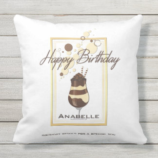 Elegant Chocolate Vanilla Drink Birthday Outdoor Pillow