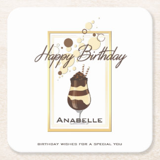 Elegant Chocolate Vanilla Drink Birthday Square Paper Coaster
