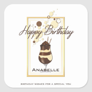 Elegant Chocolate Vanilla Drink Birthday Square Sticker