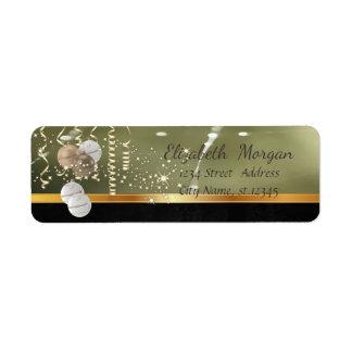 Elegant Christmas Balls ,Sparkle,Green Return Address Label
