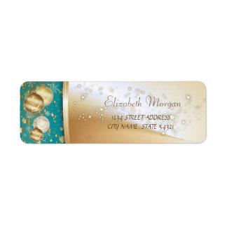 Elegant Christmas Balls, Sparkle Label Return Address Label