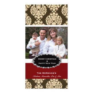 Elegant Christmas Brown Damask Customized Photo Card