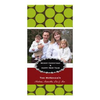 Elegant Christmas Brown Damask Photo Card Template