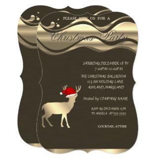 Elegant Christmas Deer Santa Hat ,Christmas Party Card