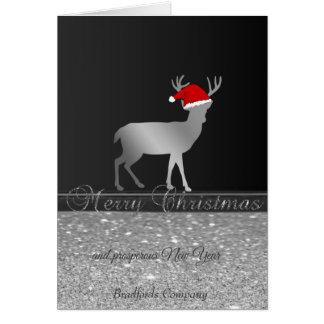 Elegant, Christmas Deer Santa Hat,Glittery,Company Card